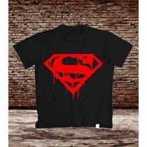 Camiseta Preta Superman Simbolo Escorrendo Silk Screen Algod