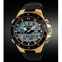 Relógio Importado Masculino Skmei Quartzo Luxo Preto Dourado