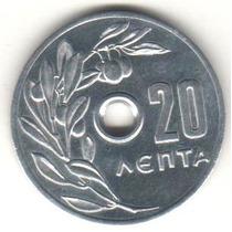 Moeda Grecia - 20 Lepta - 1971 - F C - Espelhada - Com Furo