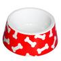 Tigela Plástica Ossos - Vermelha - Jambo Pet