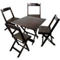 Conjunto De Cadeira E Mesa Dobrável Em Madeira 70x70 Imbuia