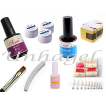 Kit Unha Gel Uv Acrygel Lixa Primer Tips Fibra De Vidro