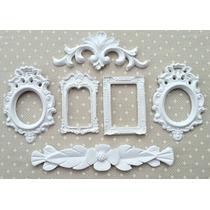 Kit 4 Espelhos / Molduras Estilo Branco Provençal