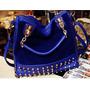 Bolsa Pu Camurça Com Detalhes Spikes Na Cor Azul