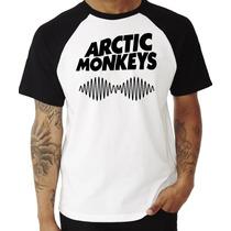 Camiseta Camisa Arctic Monkeys Rock Raglan Manga Curta
