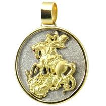 Medalhão São Jorge Ouro 18k Diamante E Rubi. 22 Gramas.