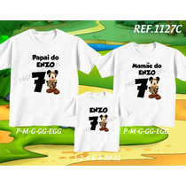 Kit Camisetas Tal Mãe Tal Pai Tal Filho Mickey Safari Dora