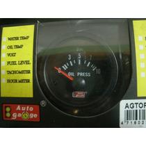 Manômetro Pressão De Óleo 52mm Auto Gauge Black Series