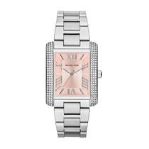 Relógio Michael Kors Mk3257 Prata E Rose Cristal Quadrado