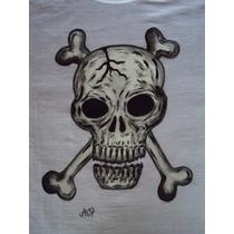 Linda Camiseta Pintada À Mão Caveira 100% Algodão Branca