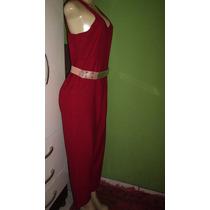 Macacao Pantalona Vermelho Tamanho M