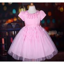 Vestido Infantil Princesa/daminha/florista/batizado C/flores