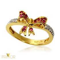 Anel De Ouro Com Lindo Laço Cheio De Rubis E Diamantes An083