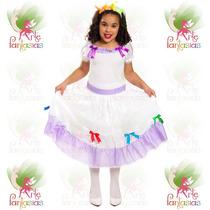 Vestido Noiva Caipira ° Festa Junina ° Infantil Branco Lilás