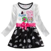 Vestido Infantil Peppa Pig Festa Pronta Entrega