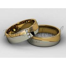 Alianças Em Ouro 18k E 3 Diamantes. Ouro Rose Ou Amarelo