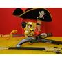 Caveira Jack Sparrow Esqueleto Arma Espada Chapeu Brinco