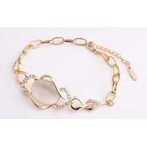 Pulseira Bracelete Feminina 18cm Banhada A Ouro 18k