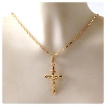 Corrente De 70cm E Pingente Cruz Crucifixo Joia De Ouro 18k