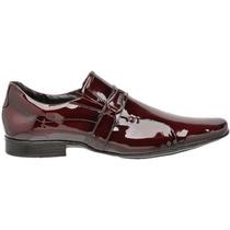Sapato Social Verniz Vinho Masculino Em Couro Em Liquidação