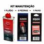 Zippo Kit Original - 1 Fluído 125 Ml + 1 Pavio + 6 Pedras