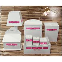 Kit Higiene 8 Peças Com Abajur Mdf Branco Laqueado