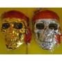 Caveira Jack Sparrow Esqueleto Mascara Cromada Ou Dourada