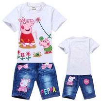 Conj. Peppa Meninas Jeans - Peppa Pig - Pronta Entrega