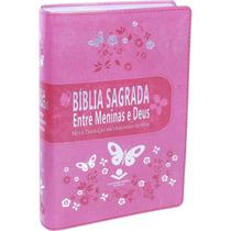 Bíblia Sagrada Entre Meninas E Deus - Rosa - Média - Luxo