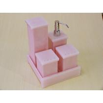 Kit Potes Para Banheiro Em Acrílico Rosa Com Strass