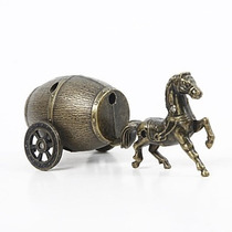 Isqueiro Estilo Cavalo Puxando Carroça, A Gás Butano 9,5 Cm