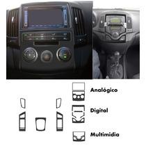 Kit Aplique Adesivo Painel I30 Fibra De Carbono Prata Preto