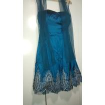 Vestido Festa Azul Tamanho P Excelente