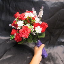 Buquê Casamento/noiva Com Flores Em Tecido-rosas Jasmim Dama