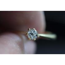 Anel Solitário Com Diamante 20 Ponto Ouro 18k