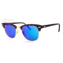 Ray Ban Clubmaster Rb3016 1145/17 Azul Espelhado Original