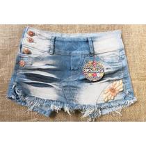 Short Saia Skort Jeans Aplicação Lavagem Lycra 36