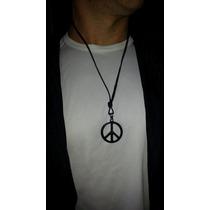 Cordão De Couro Com Simbolo Da Paz Em Inox Maciço+ Brinde