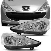 Farol Peugeot 207 2007 A 2015 Mascara Cromada Foco Duplo