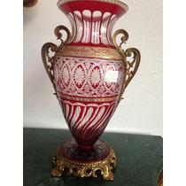 Vaso Ânfora Em Cristal Lapidado Vermelho E Bronze Impecavel