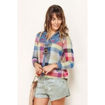 Camisa Blusa Farm Bordada Jeans Mix Flanela Colorida - Tam M