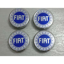 Kit Calotinha Centro Da Roda Fiat Cromada Azul 48mm