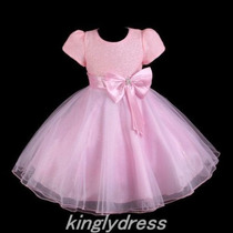 Vestido Infantil E Bebe. Modelo Princesa. Rosa.