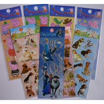 6 Cartelas Adesivos Stickers Peppa Frozen Monster Minions