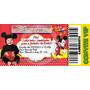 40 Convites Tipo Ingresso Minnie E Mickey - Vários Temas