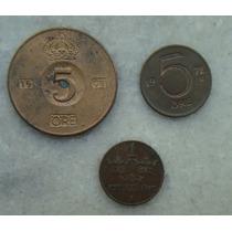3034 - Suécia Ore 3 Moedas 1971,72,30 - Bronze 5 E 1 Ore