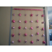 Cortina Para Porta/janela De Estrelas Rosa Metalizado