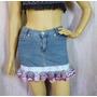 Saia Jeans 38 Estilizada Com Babado De Crochê