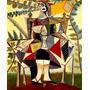 Arte Abstrata Mulher No Jardim De Picasso Grande Tela Repro