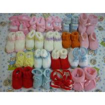 Sapatinho De Lã Em Tricô Para Bebê - Preço Por 4 Unidades